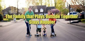 Family plays outside