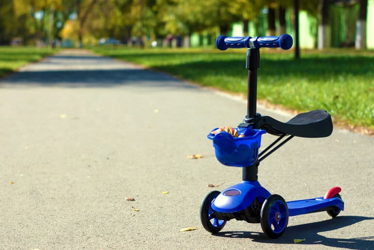 blue kick scooter with seat