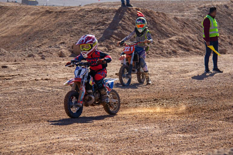 boy in a motocross competition