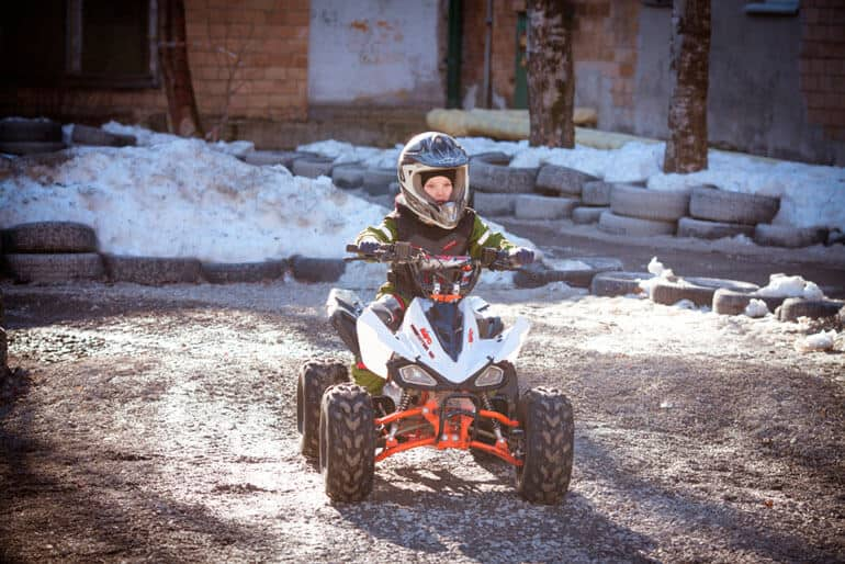 full equipped boy on gas atv