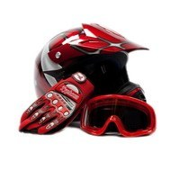 ATV/Motocross Helmet: Youth Offroad Gear Combo Helmet Gloves Goggles DOT Motocross ATV Dirt Bike MX Spiderman Red, Mediu