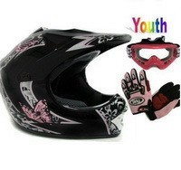 ATV/Motocross Helmet: Youth Black Pink Butterfly Dirt Bike Atv Motocross Helmet with Goggles Gloves (Medium)