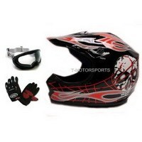 ATV/Motocross Helmet: TMS Youth Black Red Skull Dirt Bike ATV Motocross Helmet with Goggles and Gloves (Large)