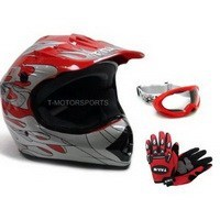 ATV/Motocross Helmet: TMS Youth Red Flame Dirt Bike ATV Motocross Helmet with Goggles and Gloves (Small)