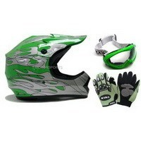 ATV/Motocross Helmet: TMS Youth Green Silver Flame Dirt Bike ATV Motocross Helmet with Goggles and Gloves (Small