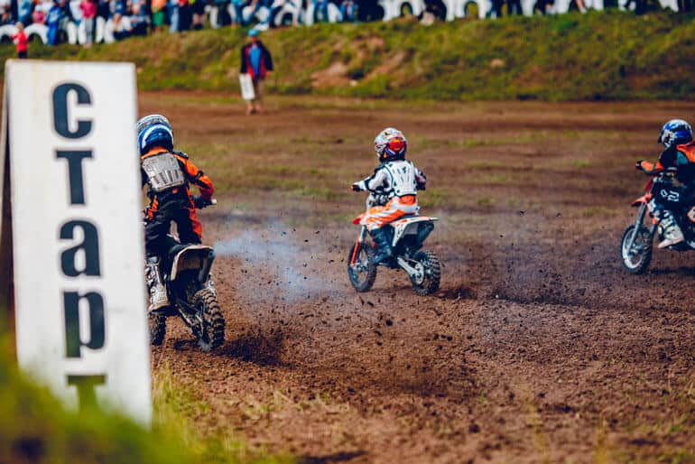 motocross competition is being opened by kids